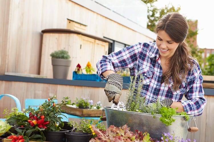 Woman Maintaining Garden Container