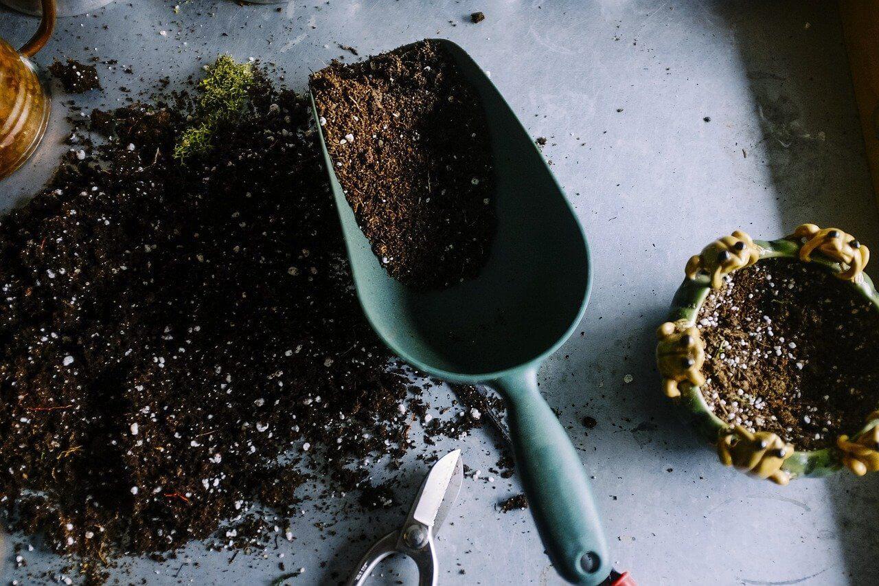 Potting soil and metal scoop