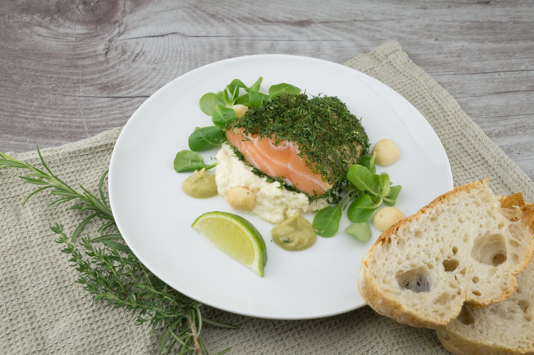 Watercress on fish